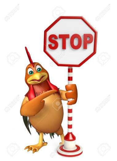 cute Chicken cartoon character with stop sign